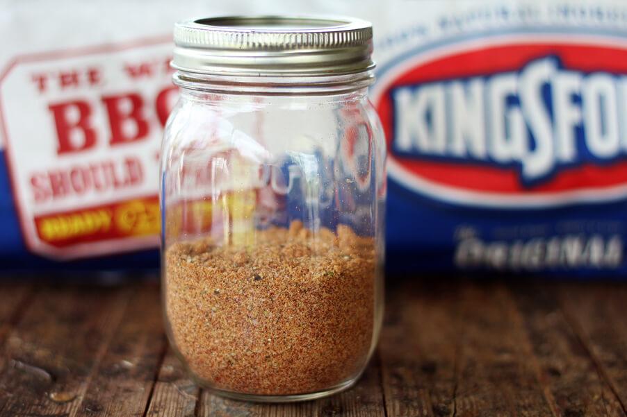 A jar of homemade spice rub