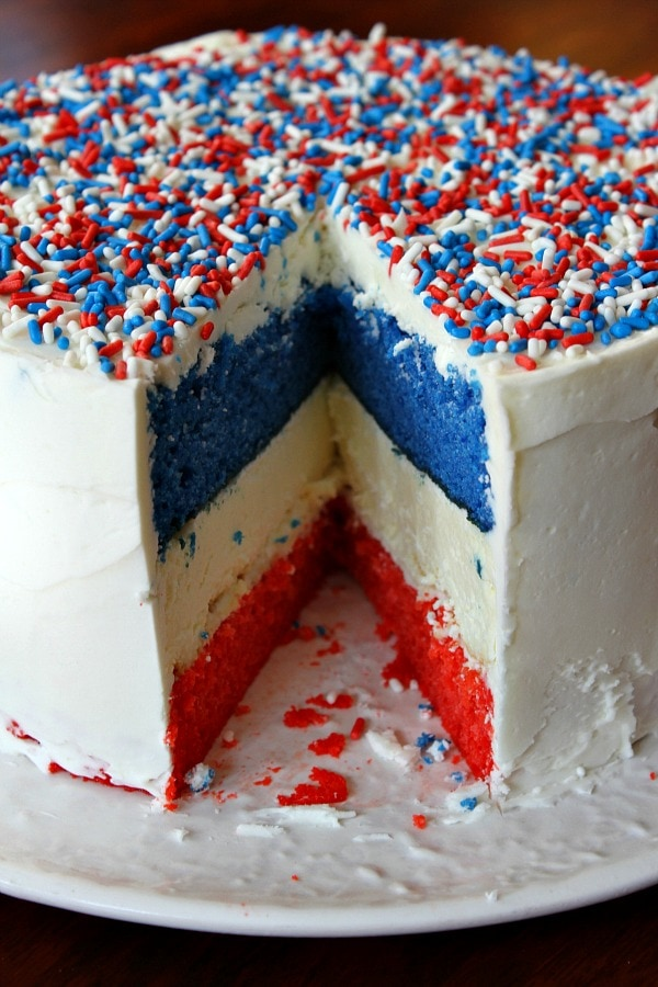 Red White and Blue Cheesecake Cake