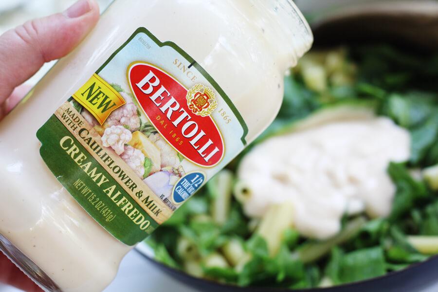 New Bertolli Creamy Alfredo Sauce with Cauliflower & Milk