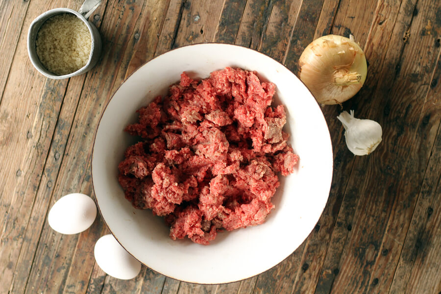 a bowl of ground beef