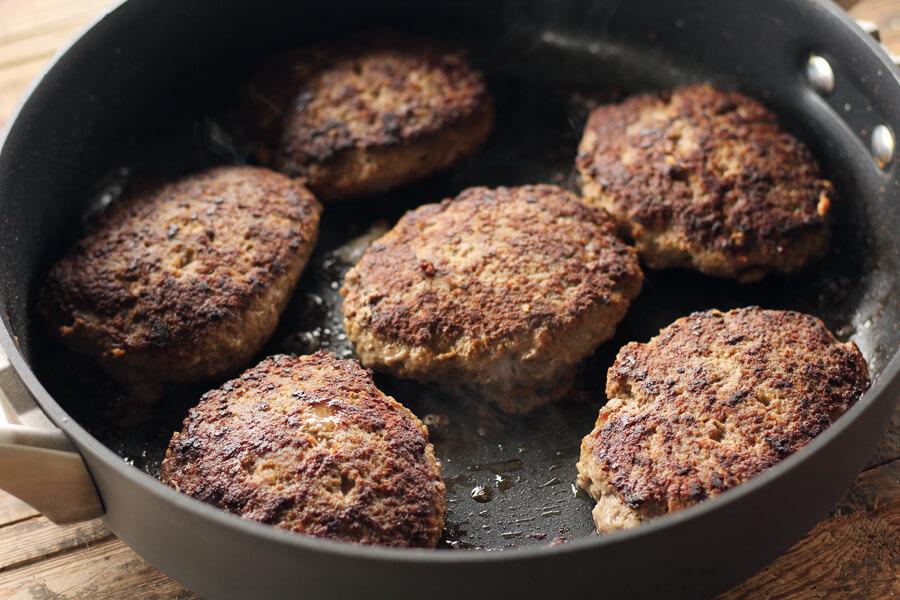 hamburger steaks browned in a skillet