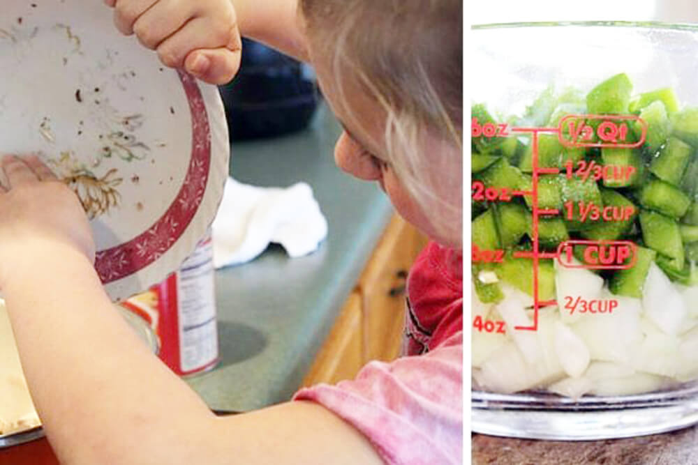 a young girl cooking using a measuring cup